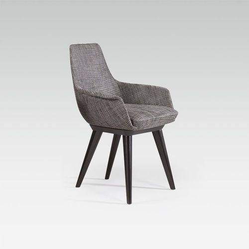 contemporary office armchair / leather / fabric / beech