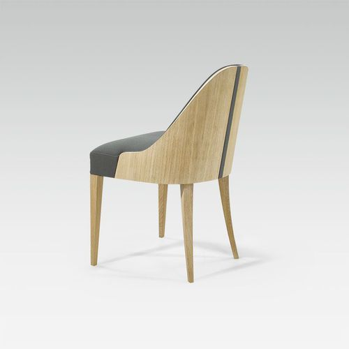 contemporary chair / upholstered / oak / fabric