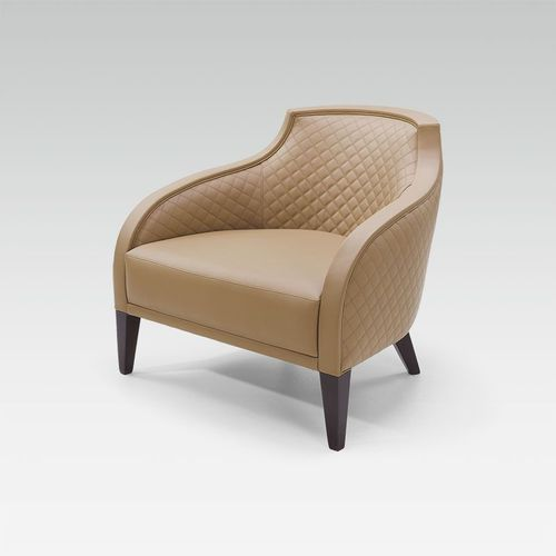 contemporary armchair / fabric / leather / beech