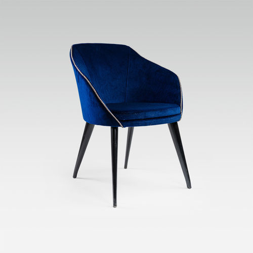 contemporary chair / with armrests / upholstered / leather