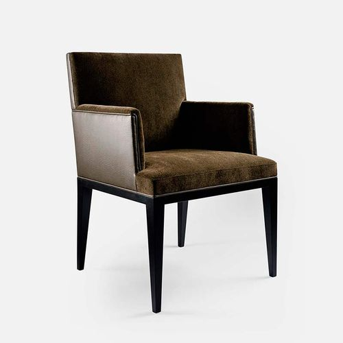 contemporary chair / with armrests / fabric / beech