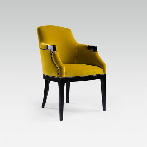 traditional restaurant chair / upholstered / with armrests / fabric