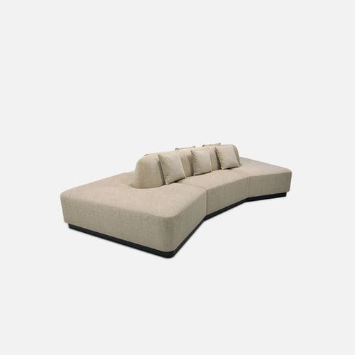 contemporary upholstered bench / fabric / commercial / with backrest