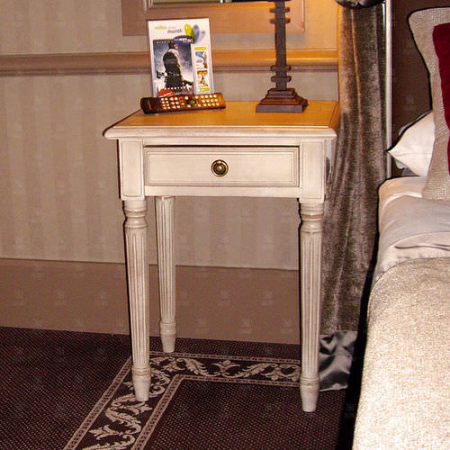 Louis XVI style bedside table / wooden / rectangular / for hotels