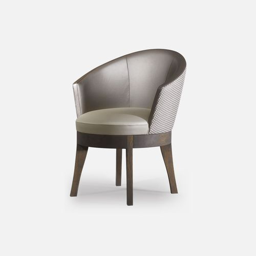 contemporary armchair / oak / fabric / leather