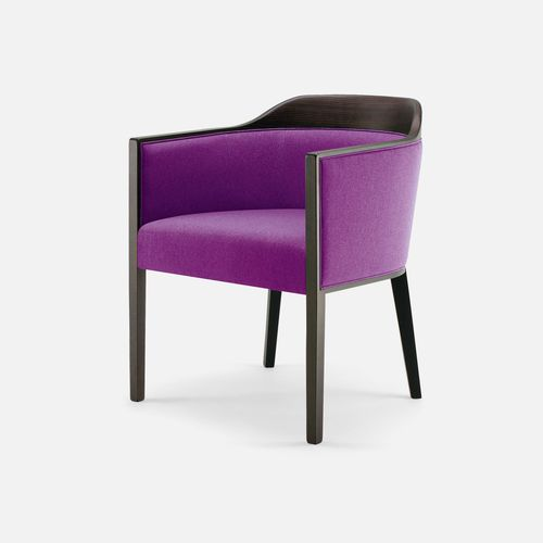 contemporary armchair / beech / fabric / bridge