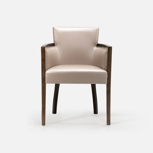 contemporary armchair / beech / fabric / leather