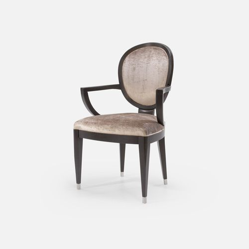 traditional chair / upholstered / with armrests / medallion