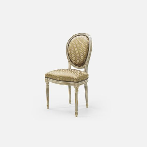 Louis XVI style chair / upholstered / with armrests / medallion