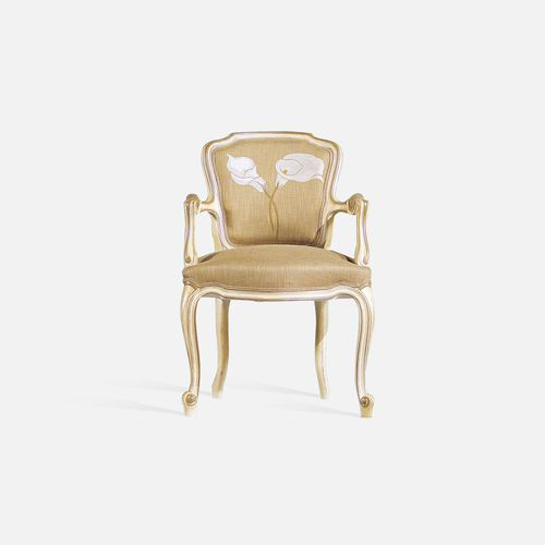 Louis XV restaurant chair / upholstered / with armrests / fabric