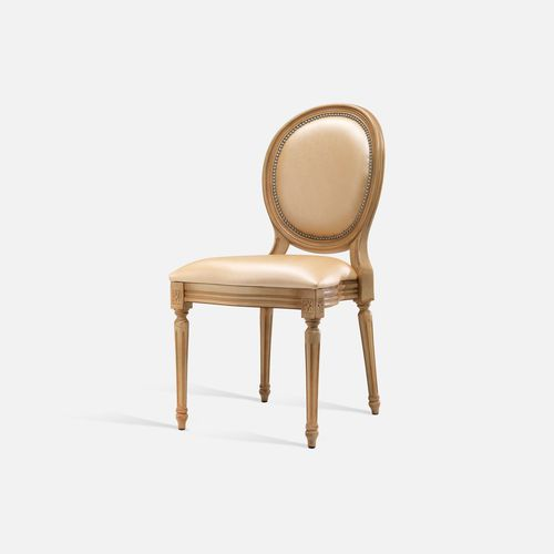 Louis XVI style chair / stackable / upholstered / with armrests