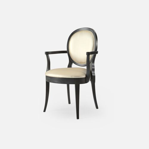 traditional chair / with removable cushion / stackable / upholstered