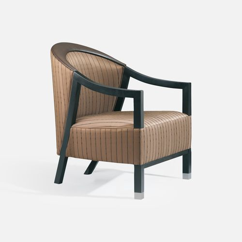 contemporary armchair / leather / fabric / beech