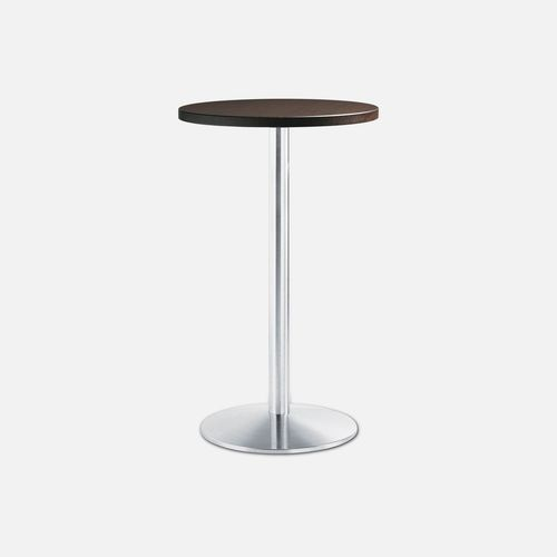contemporary high bar table / epoxy / brushed stainless steel / round