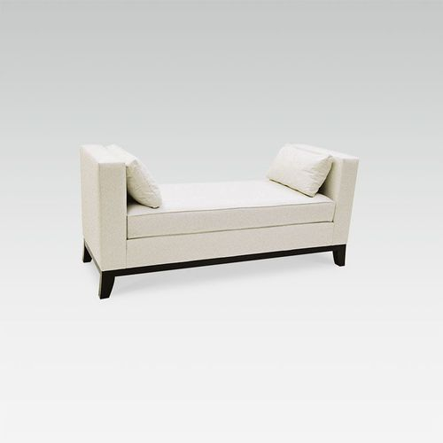 traditional upholstered bench / wooden / commercial / beige