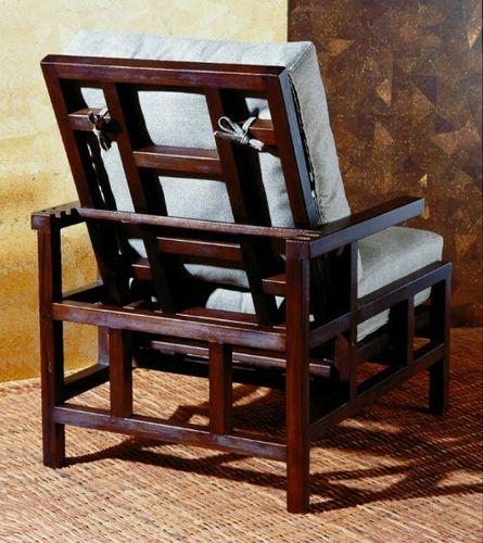 traditional armchair / teak / reclining