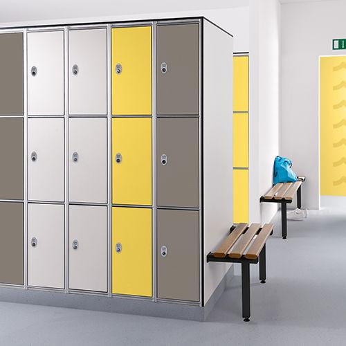 locker room bench / contemporary / wooden / steel