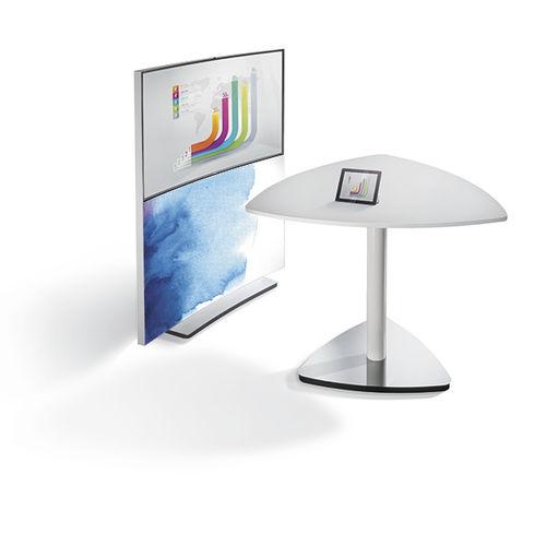 contemporary boardroom table / wood veneer / HPL / metal