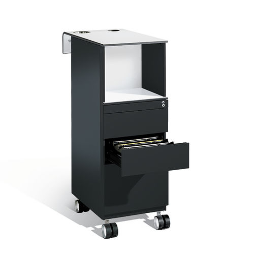 Steel office unit / glass / 4-drawer / on casters C 3000 ASISTO : 54701-00|S10038 C+P Möbelsysteme GmbH & Co. KG