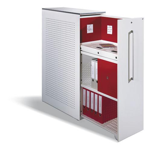 low filing cabinet / wood veneer / steel / glass