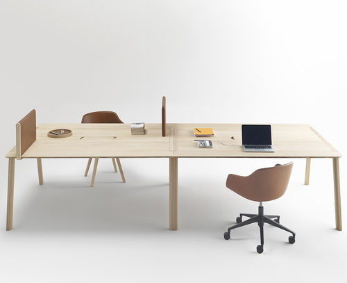 workstation desk / leather / wooden / contemporary