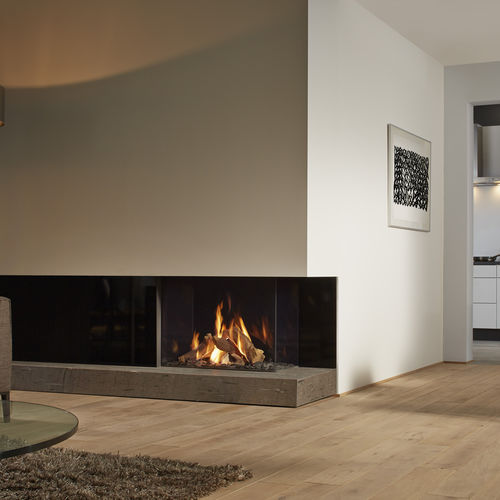 gas fireplace / contemporary / closed hearth / 2-sided