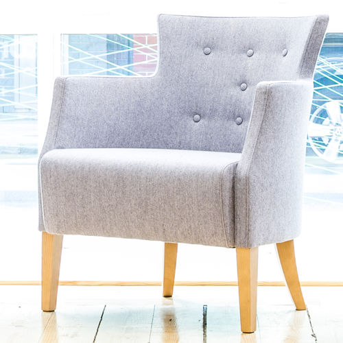 Contemporary visitor armchair / wooden / fabric / red ARMADA  Connection