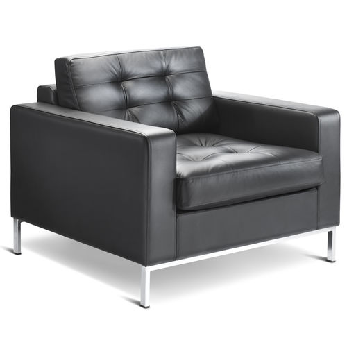 Minimalist design visitor armchair / leather / black CHECK by High Design Connection