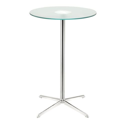 contemporary high bar table / walnut / frosted glass / aluminum