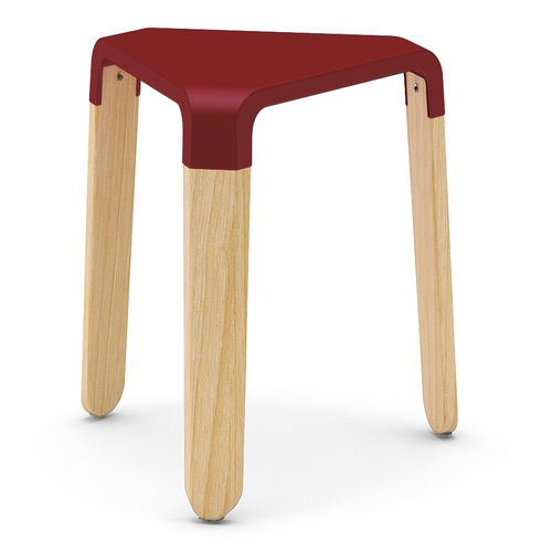 contemporary stool / beech / polycarbonate / ABS