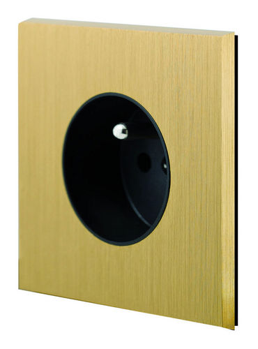 power socket / wall-mounted / brass / contemporary