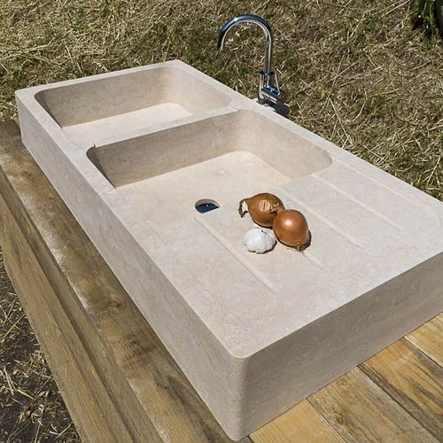 double kitchen sink / stone / with drainboard