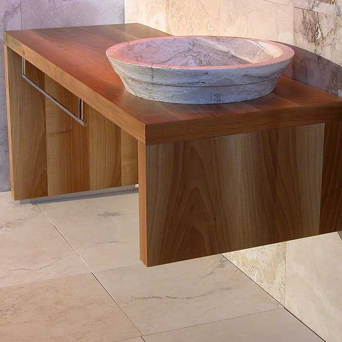 free-standing washbasin cabinet / solid wood / travertine / contemporary