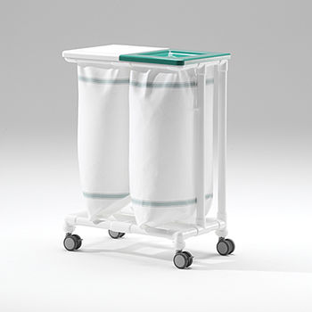 linen trolley / for healthcare facilities / stainless steel / plastic