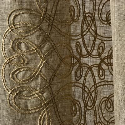 curtain fabric / patterned / linen