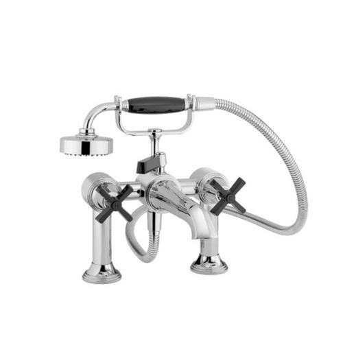 double-handle shower mixer tap / for bathtubs / free-standing / chromed metal