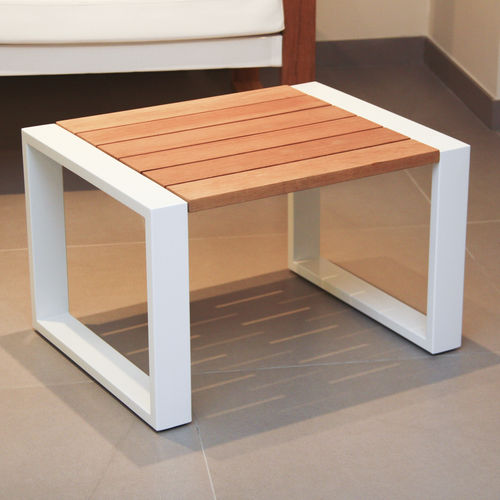 contemporary side table / teak / tempered glass / steel