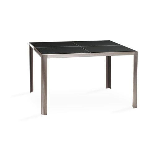 garden table / contemporary / tempered glass / stainless steel