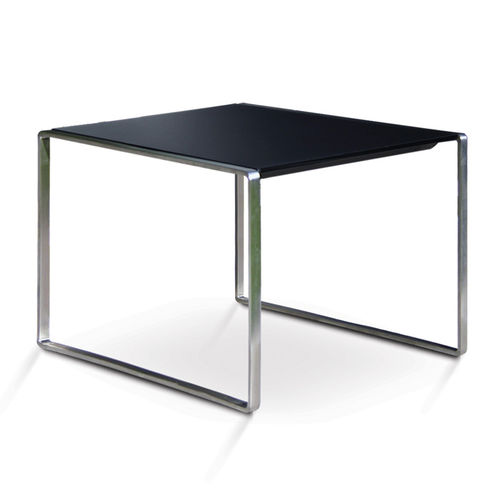 contemporary side table / glass / teak / stainless steel