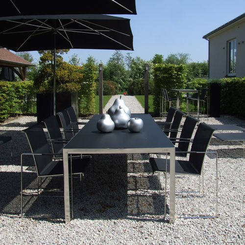 contemporary garden chair / sled base / with armrests / brushed stainless steel