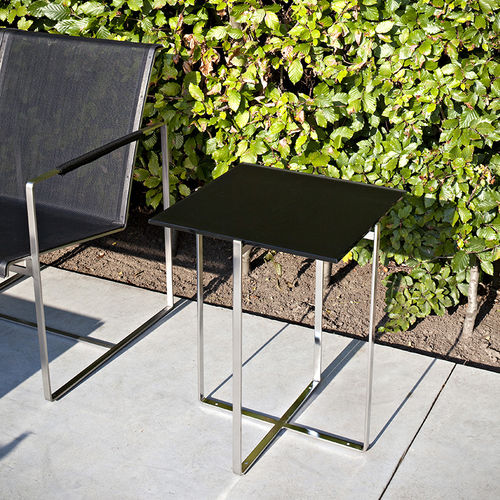 contemporary side table / glass / stone / tempered glass