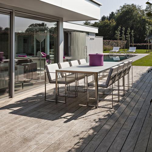 garden table / contemporary / teak / tempered glass