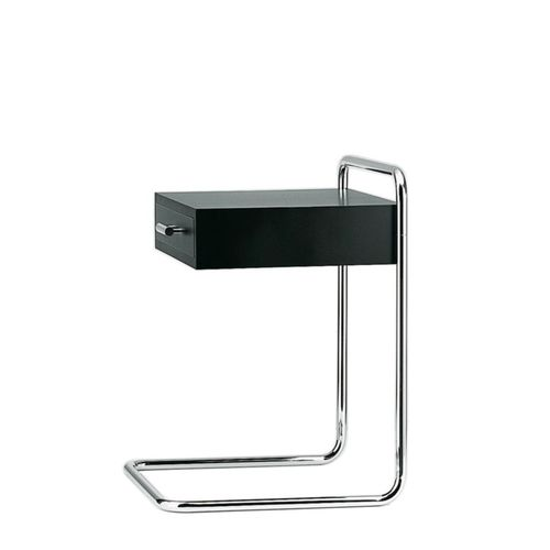 contemporary bedside table / steel / lacquered wood / rectangular