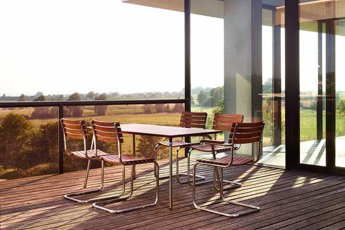 Contemporary table / stainless steel / iroko / rectangular S 1040 THONET