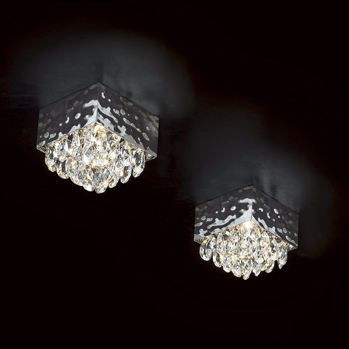 contemporary ceiling light / square / crystal / halogen