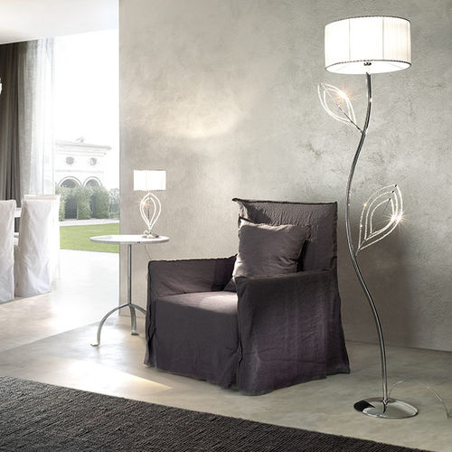 floor-standing lamp / contemporary / crystal / fabric
