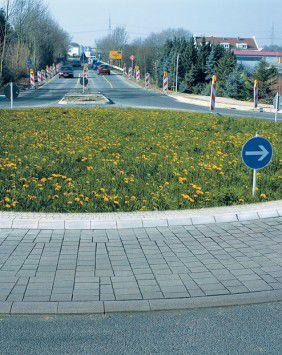sidewalk edge / concrete / curved