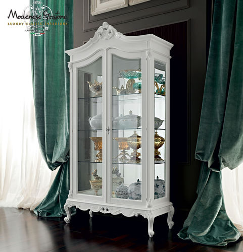 classic display case / with legs / glass / wooden