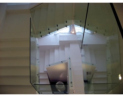 glass railing / with bars / indoor / for stairs