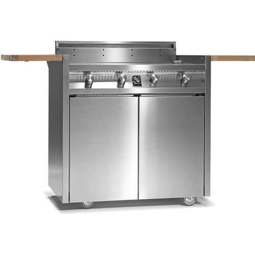 gas barbecue / on casters / steel